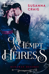 Cover of To Tempt and Heiress [man and woman embrace in snow]